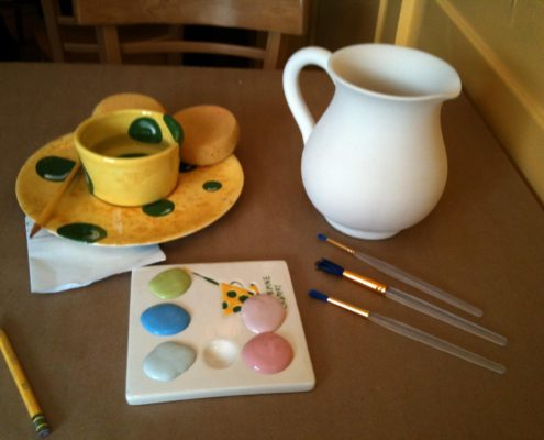 pottery painting - Pitcher at The Creativity Cafe