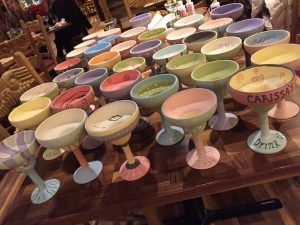 Pottery Painting - Painted Pottery Margarita Glasses 2- The Creativity Cafe